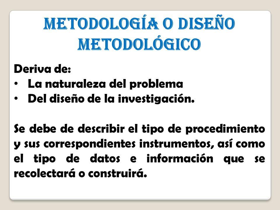 4 4 METODOLOGÍA o Diseño metodológico Deriva de: La naturaleza del problema Del diseño de la investigación. Se debe de describir el tipo de procedimie