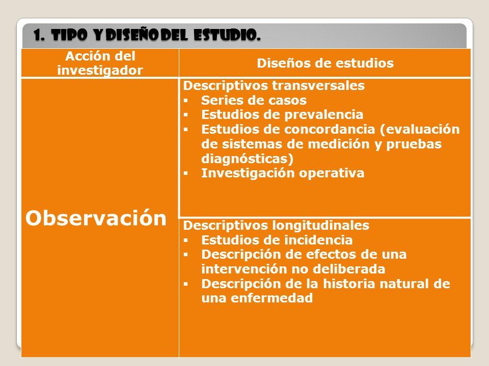 7 1. tipo y diseño del estudio. 7 Acción del investigador Diseños de estudios Observación Descriptivos transversales Series de casos Estudios de preva