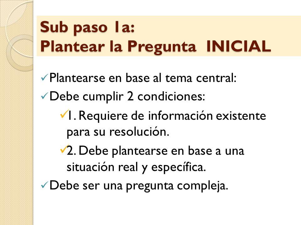 Sub paso 1a: Plantear la Pregunta INICIAL Plantearse en base al tema central: Debe cumplir 2 condiciones: 1. Requiere de información existente para su