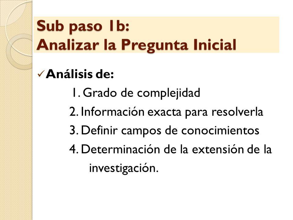 Sub paso 1b: Analizar la Pregunta Inicial Análisis de: 1. Grado de complejidad 2. Información exacta para resolverla 3. Definir campos de conocimiento