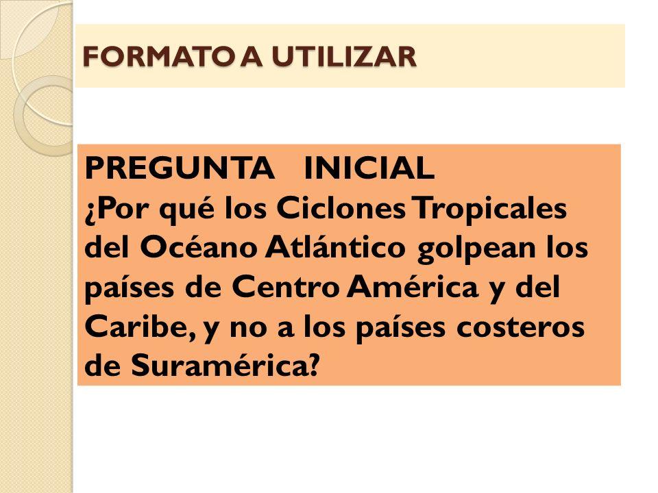 FORMATO A UTILIZAR PREGUNTA INICIAL ¿Por qué los Ciclones Tropicales del Océano Atlántico golpean los países de Centro América y del Caribe, y no a lo