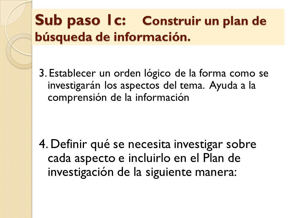 3. Establecer un orden lógico de la forma como se investigarán los aspectos del tema. Ayuda a la comprensión de la información 4. Definir qué se neces