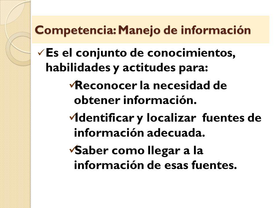 Competencia: Manejo de información Es el conjunto de conocimientos, habilidades y actitudes para: Reconocer la necesidad de obtener información. Ident