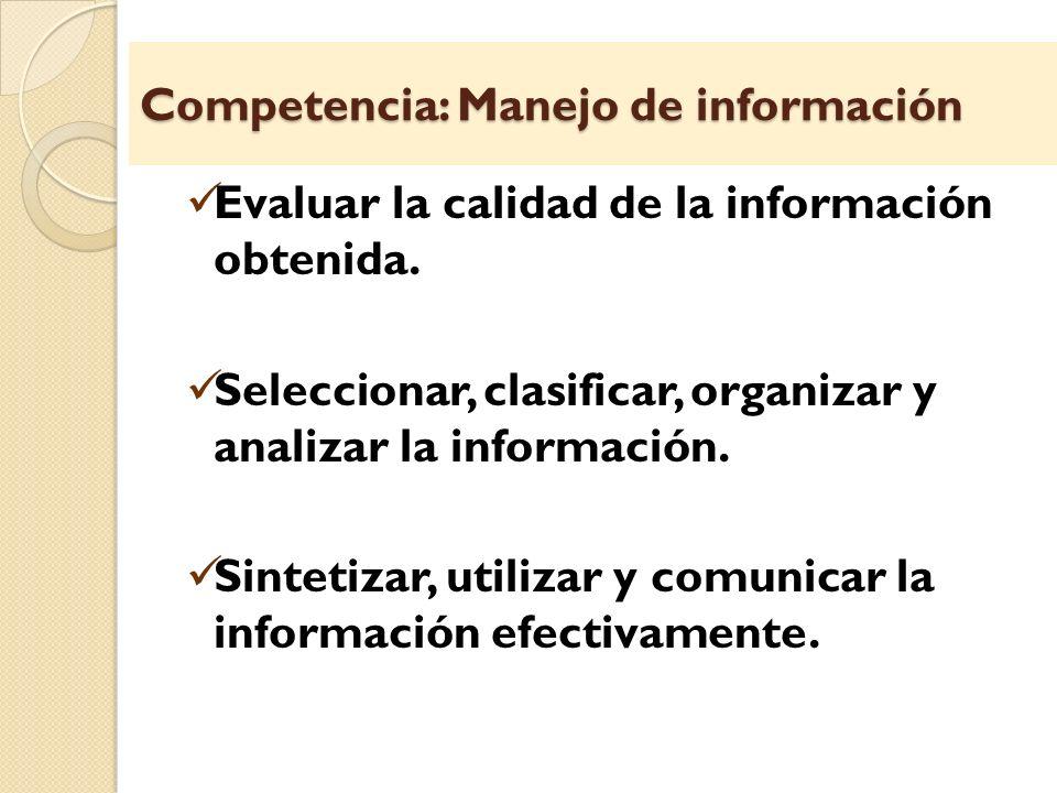 Competencia: Manejo de información Evaluar la calidad de la información obtenida. Seleccionar, clasificar, organizar y analizar la información. Sintet