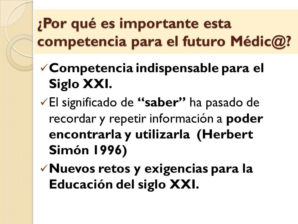 ¿Por qué es importante esta competencia para el futuro Médic@? Competencia indispensable para el Siglo XXI. El significado de saber ha pasado de recor
