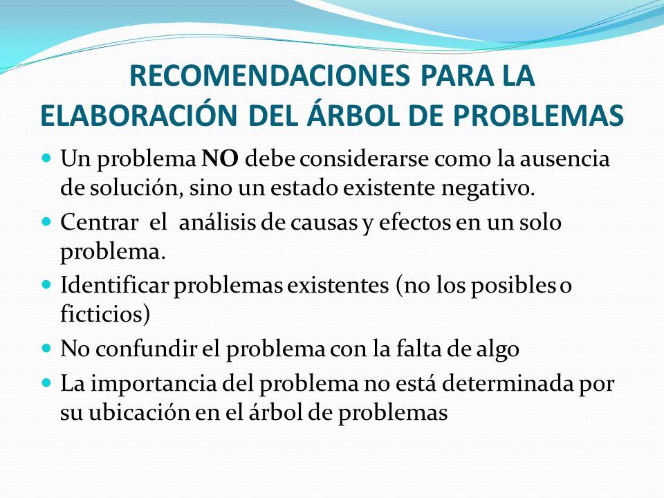 RECOMENDACIONES PARA LA ELABORACIÓN DEL ÁRBOL DE PROBLEMAS Un problema NO debe considerarse como la ausencia de solución, sino un estado existente neg