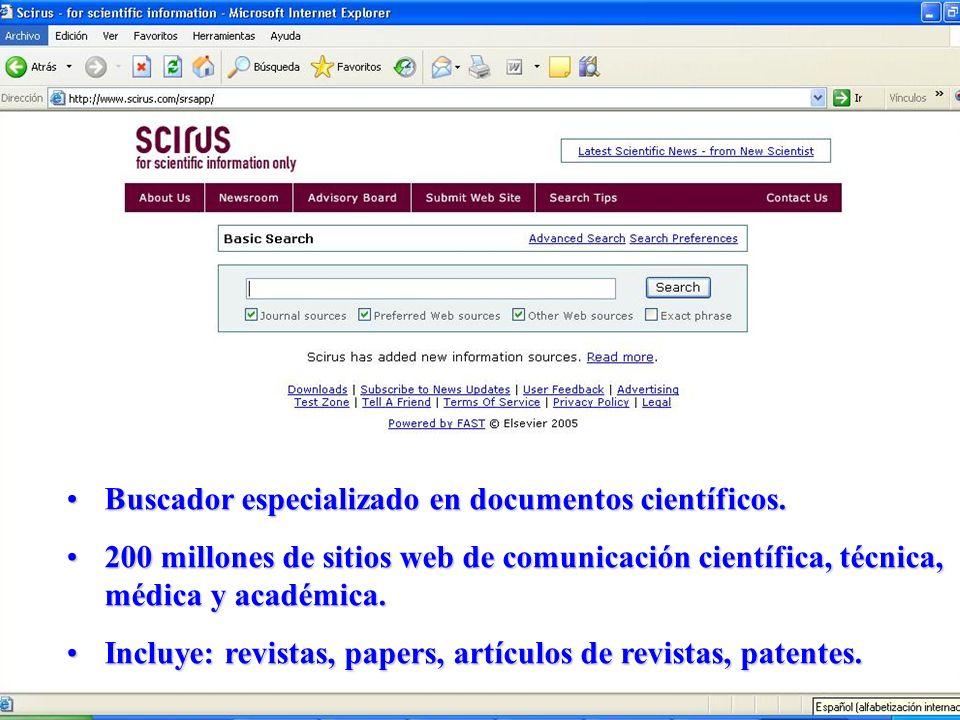 Buscador especializado en documentos científicos.Buscador especializado en documentos científicos. 200 millones de sitios web de comunicación científi