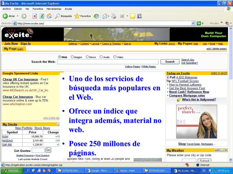 Uno de los servicios de búsqueda más populares en el Web.Uno de los servicios de búsqueda más populares en el Web. Ofrece un índice que integra además