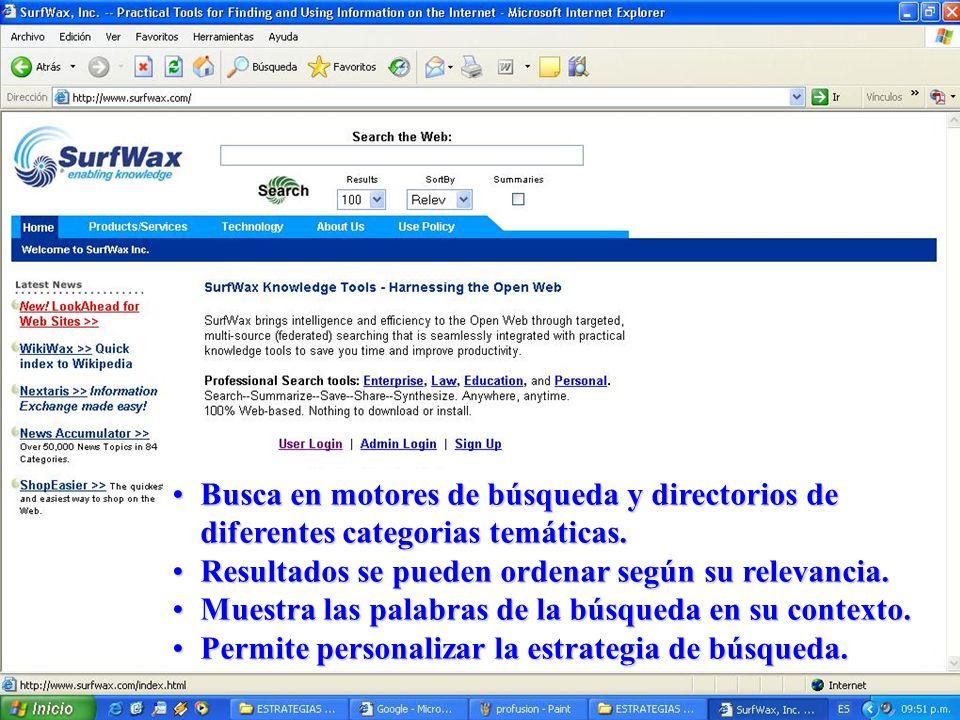 Busca en motores de búsqueda y directorios de diferentes categorias temáticas.Busca en motores de búsqueda y directorios de diferentes categorias temá