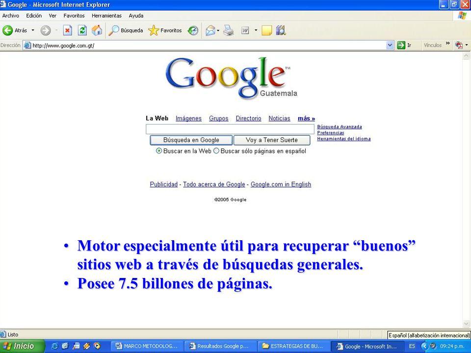 Motor especialmente útil para recuperar buenos sitios web a través de búsquedas generales.Motor especialmente útil para recuperar buenos sitios web a