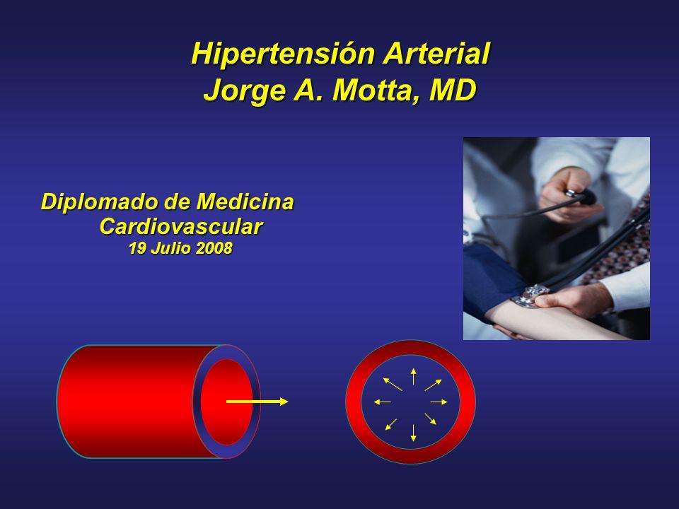 Hipertensión Arterial Jorge A. Motta, MD Diplomado de Medicina Cardiovascular 19 Julio 2008