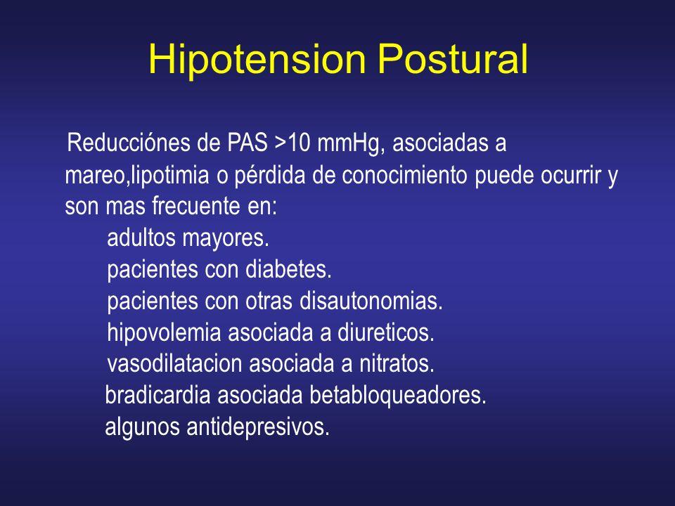Hipotension Postural Reducciónes de PAS >10 mmHg, asociadas a mareo,lipotimia o pérdida de conocimiento puede ocurrir y son mas frecuente en: adultos