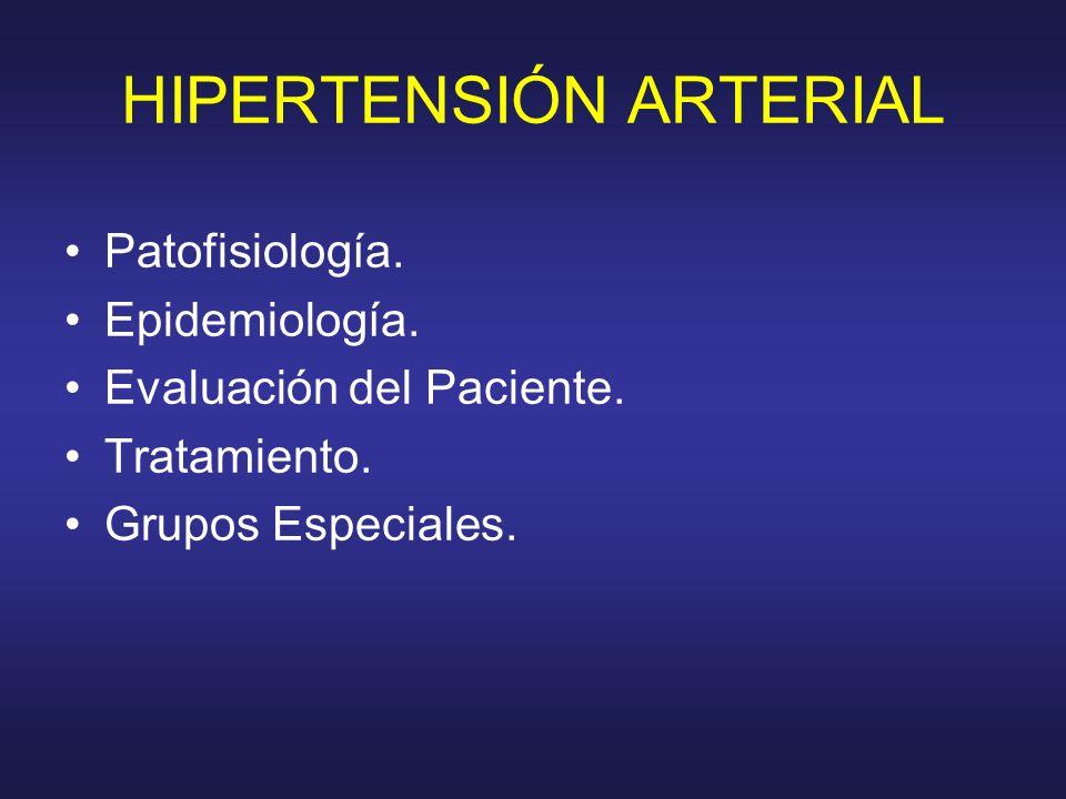 HIPERTENSIÓN ARTERIAL Patofisiología. Epidemiología. Evaluación del Paciente. Tratamiento. Grupos Especiales.