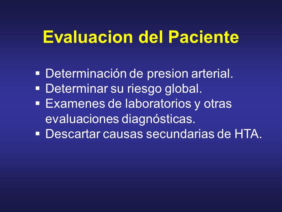 Evaluacion del Paciente Determinación de presion arterial. Determinar su riesgo global. Examenes de laboratorios y otras evaluaciones diagnósticas. De
