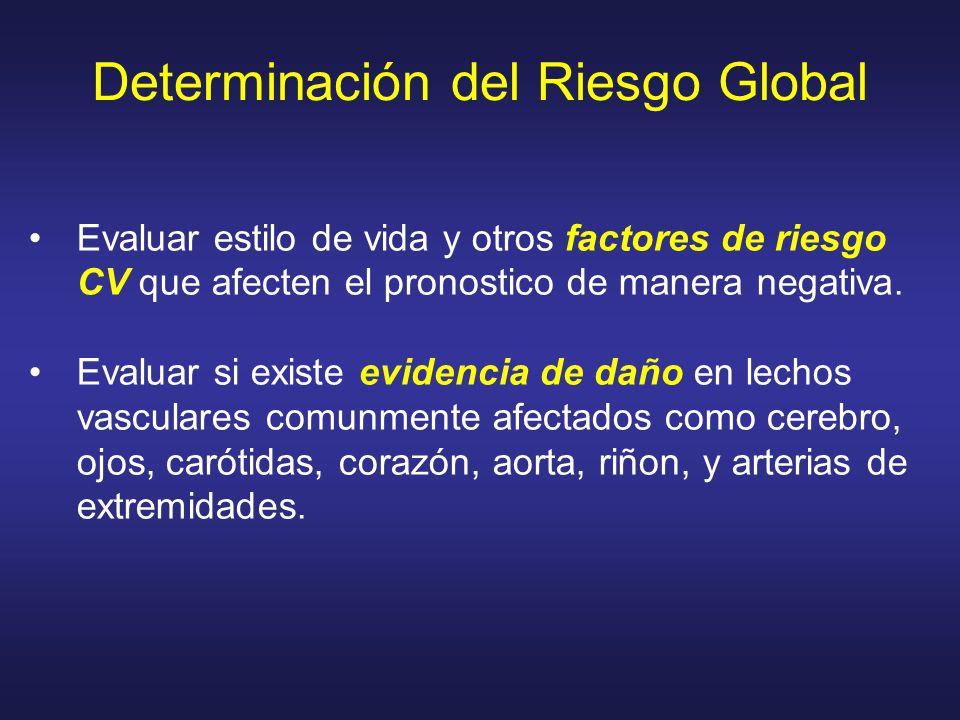 Determinación del Riesgo Global Evaluar estilo de vida y otros factores de riesgo CV que afecten el pronostico de manera negativa. Evaluar si existe e