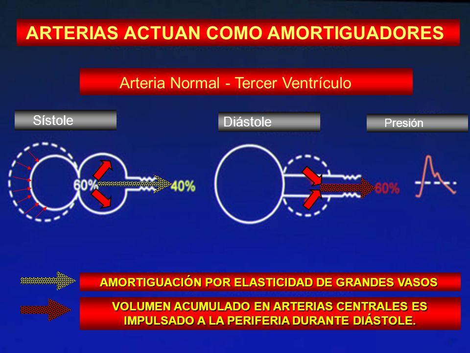 ARTERIAS ACTUAN COMO AMORTIGUADORES Arteria Normal - Tercer Ventrículo AMORTIGUACIÓN POR ELASTICIDAD DE GRANDES VASOS AMORTIGUACIÓN POR ELASTICIDAD DE