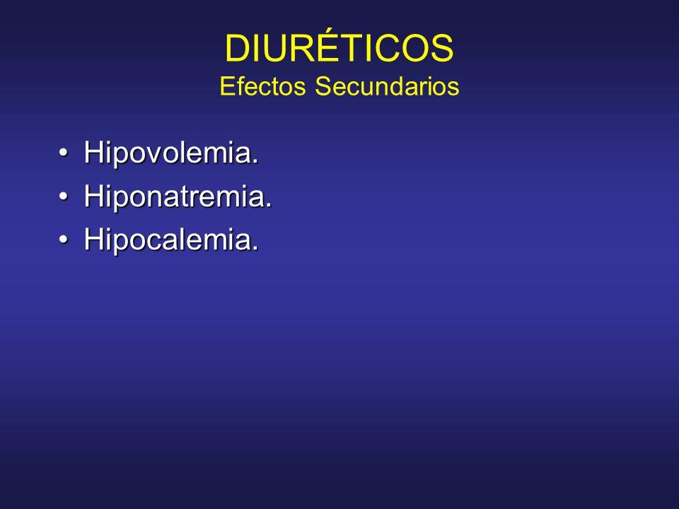 DIURÉTICOS Efectos Secundarios Hipovolemia.Hipovolemia. Hiponatremia.Hiponatremia. Hipocalemia.Hipocalemia.
