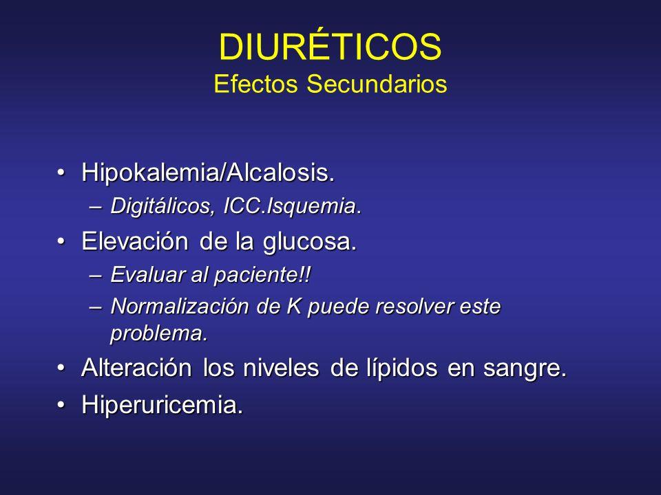 DIURÉTICOS Efectos Secundarios Hipokalemia/Alcalosis.Hipokalemia/Alcalosis. –Digitálicos, ICC.Isquemia. Elevación de la glucosa.Elevación de la glucos