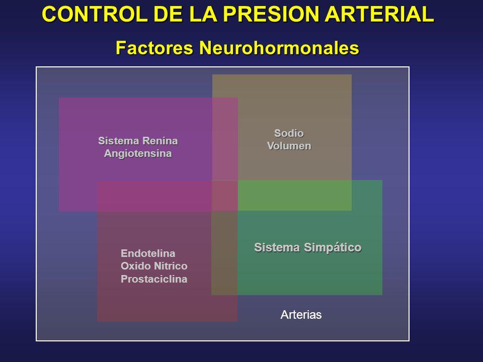 CONTROL DE LA PRESION ARTERIAL Factores Neurohormonales SodioVolumen Sistema Renina Angiotensina Sistema Simpático Endotelina Oxido Nitrico Prostacicl