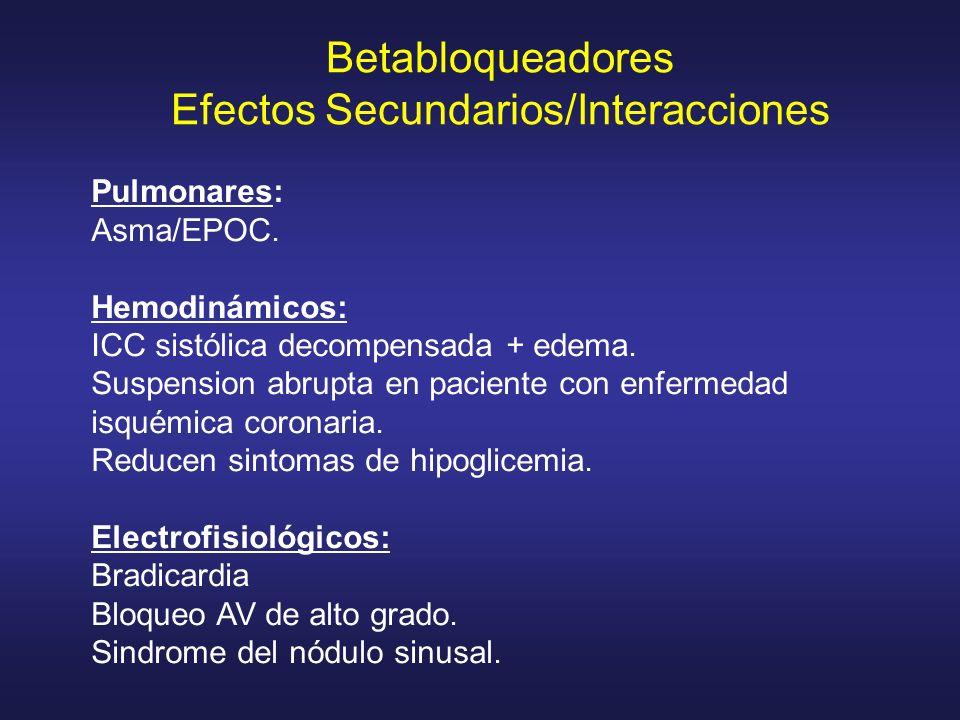 Pulmonares: Asma/EPOC. Hemodinámicos: ICC sistólica decompensada + edema. Suspension abrupta en paciente con enfermedad isquémica coronaria. Reducen s