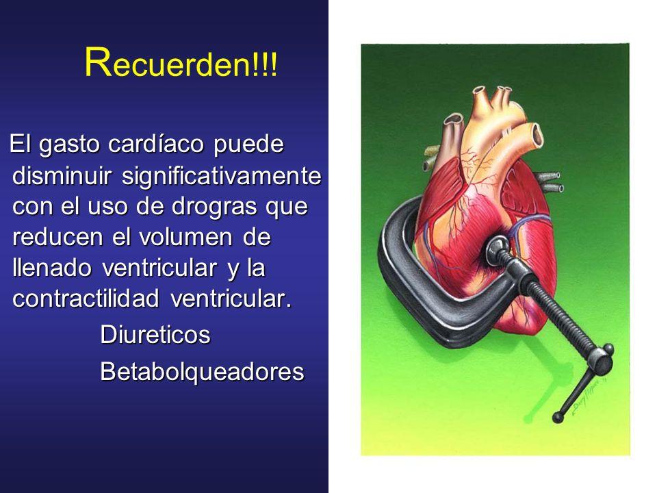 R ecuerden!!! El gasto cardíaco puede disminuir significativamente con el uso de drogras que reducen el volumen de llenado ventricular y la contractil