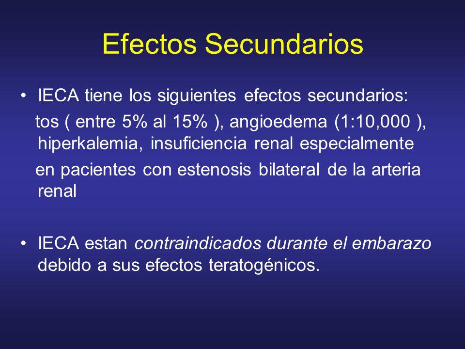 IECA tiene los siguientes efectos secundarios: tos ( entre 5% al 15% ), angioedema (1:10,000 ), hiperkalemia, insuficiencia renal especialmente en pac