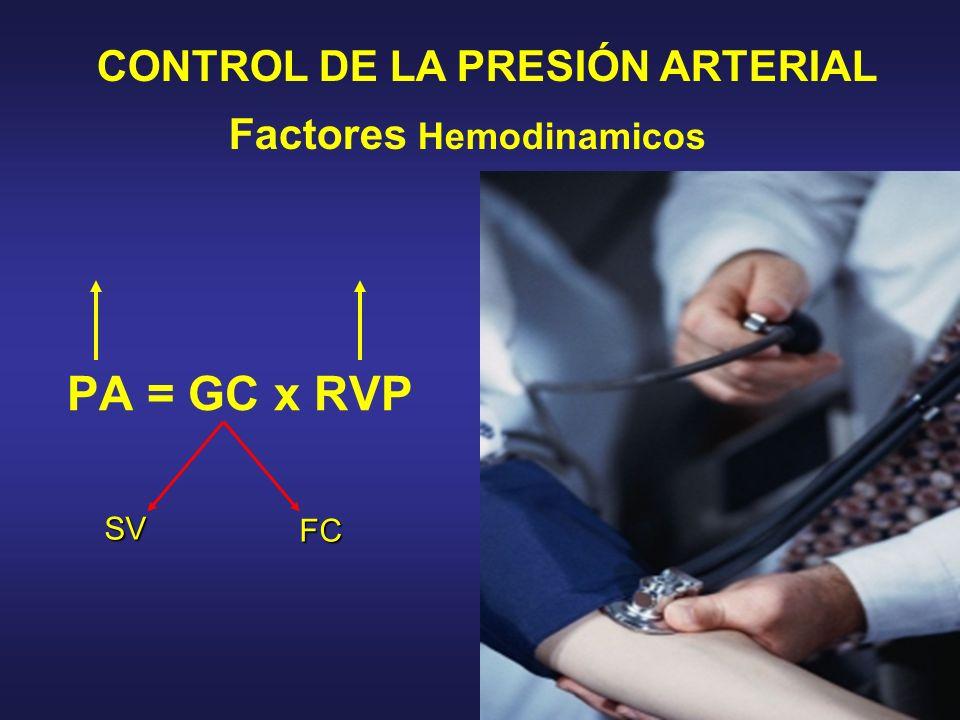 Factores Hemodinamicos CONTROL DE LA PRESIÓN ARTERIAL PA = GC x RVP FC SV