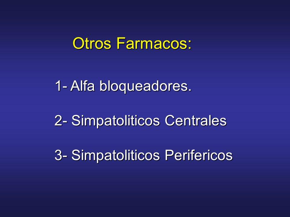 1- Alfa bloqueadores. 2- Simpatoliticos Centrales 3- Simpatoliticos Perifericos Otros Farmacos: