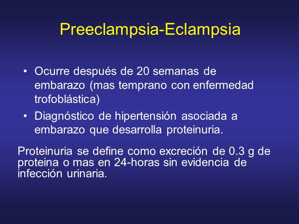 Ocurre después de 20 semanas de embarazo (mas temprano con enfermedad trofoblástica) Diagnóstico de hipertensión asociada a embarazo que desarrolla pr