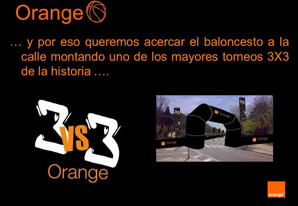 Orange … y por eso queremos acercar el baloncesto a la calle montando uno de los mayores torneos 3X3 de la historia ….
