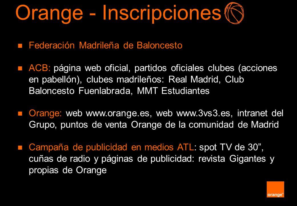 Orange - Inscripciones Federación Madrileña de Baloncesto ACB: página web oficial, partidos oficiales clubes (acciones en pabellón), clubes madrileños