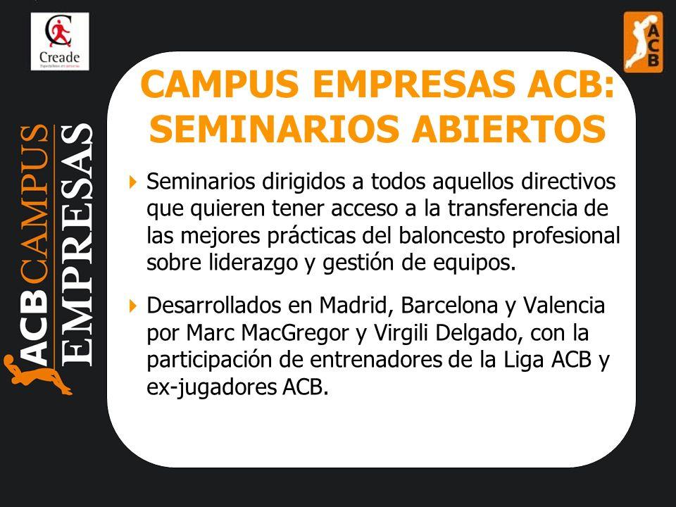 CAMPUS EMPRESAS ACB: SEMINARIOS ABIERTOS Seminarios dirigidos a todos aquellos directivos que quieren tener acceso a la transferencia de las mejores prácticas del baloncesto profesional sobre liderazgo y gestión de equipos.