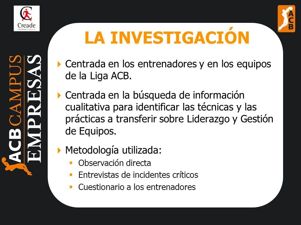 LA INVESTIGACIÓN Centrada en los entrenadores y en los equipos de la Liga ACB.