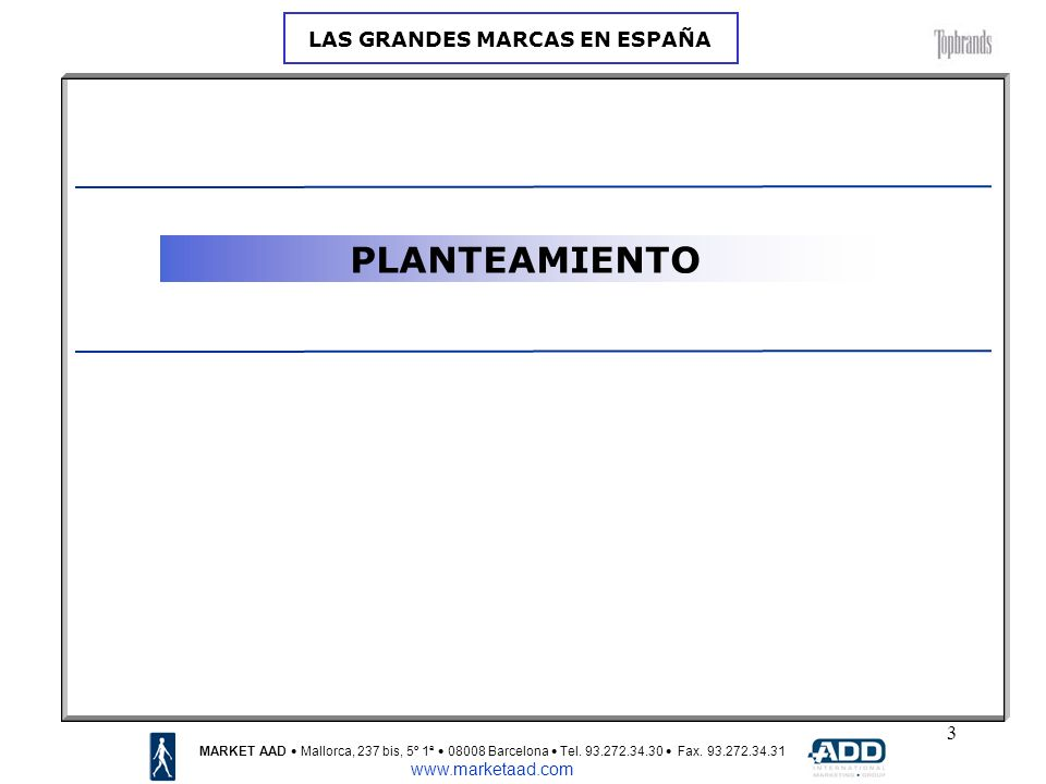 3 PLANTEAMIENTO MARKET AAD Mallorca, 237 bis, 5º 1ª 08008 Barcelona Tel.