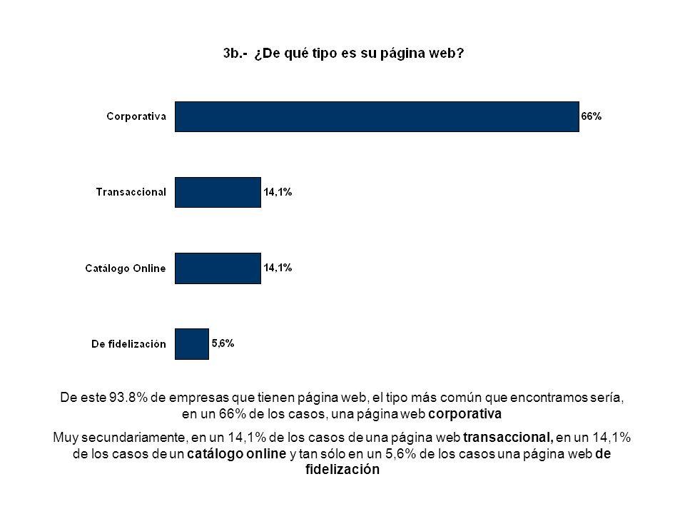 De este 93.8% de empresas que tienen página web, el tipo más común que encontramos sería, en un 66% de los casos, una página web corporativa Muy secundariamente, en un 14,1% de los casos de una página web transaccional, en un 14,1% de los casos de un catálogo online y tan sólo en un 5,6% de los casos una página web de fidelización