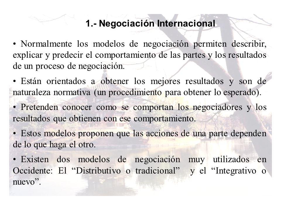 1.- Negociación Internacional Normalmente los modelos de negociación permiten describir, explicar y predecir el comportamiento de las partes y los res