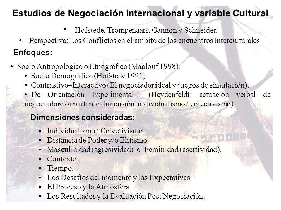 Estudios de Negociación Internacional y variable Cultural Hofstede, Trompenaars, Gannon y Schneider. Perspectiva: Los Conflictos en el ámbito de los e