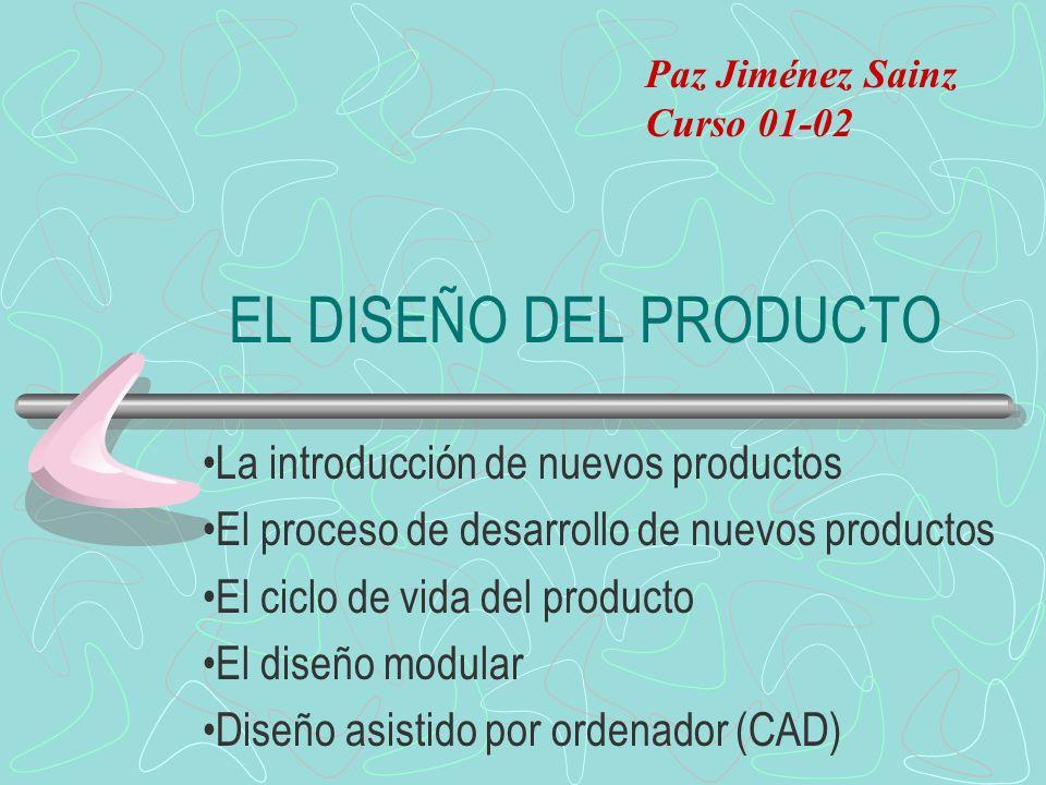 EL DISEÑO DEL PRODUCTO La introducción de nuevos productos El proceso de desarrollo de nuevos productos El ciclo de vida del producto El diseño modular Diseño asistido por ordenador (CAD) Paz Jiménez Sainz Curso 01-02