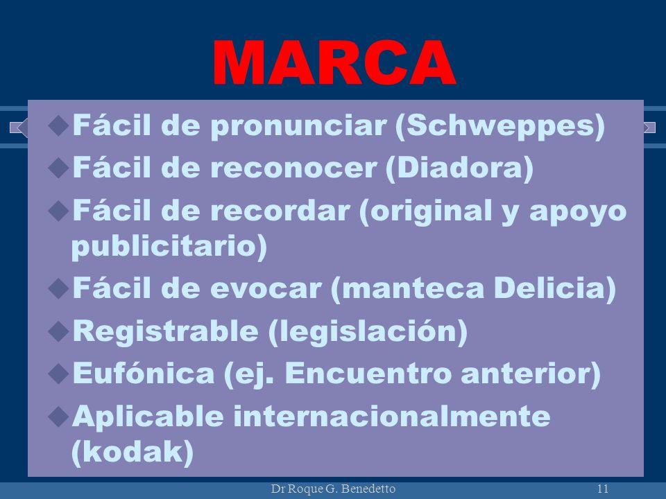 Dr Roque G. Benedetto11 MARCA Fácil de pronunciar (Schweppes) Fácil de reconocer (Diadora) Fácil de recordar (original y apoyo publicitario) Fácil de