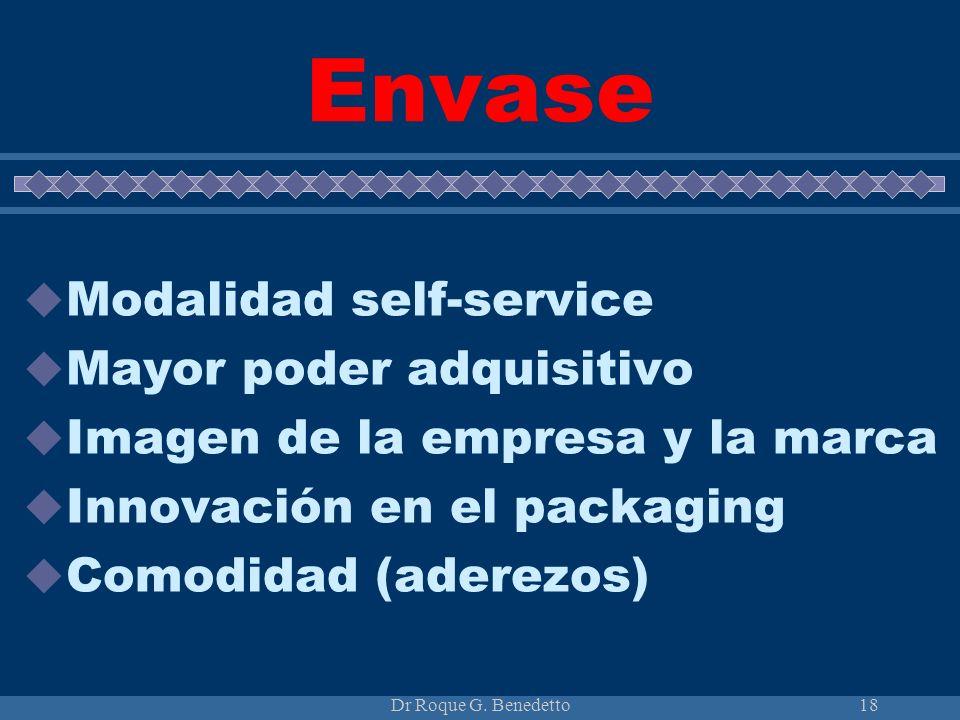 Dr Roque G. Benedetto18 Envase Modalidad self-service Mayor poder adquisitivo Imagen de la empresa y la marca Innovación en el packaging Comodidad (ad
