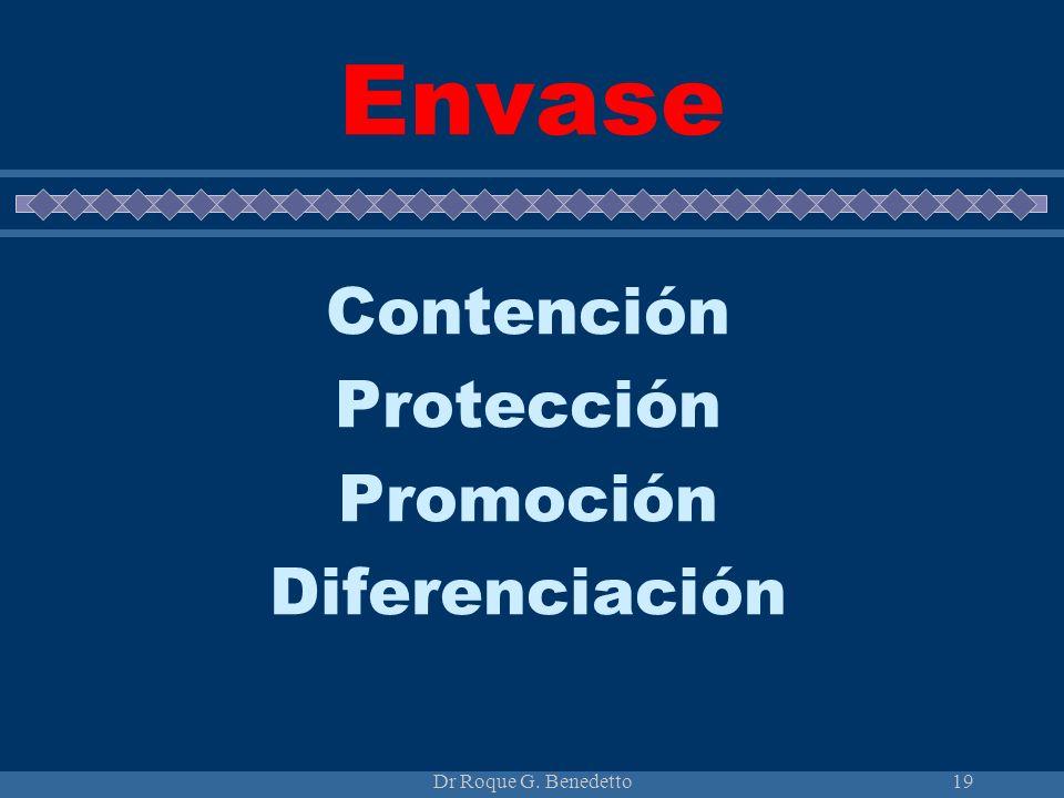 Dr Roque G. Benedetto19 Envase Contención Protección Promoción Diferenciación