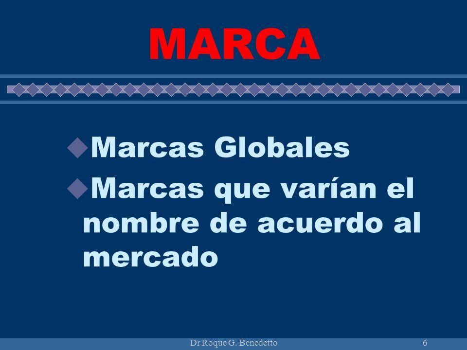 Dr Roque G. Benedetto6 MARCA Marcas Globales Marcas que varían el nombre de acuerdo al mercado