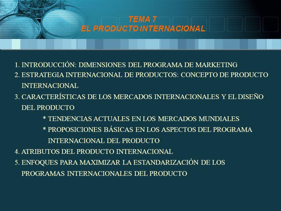 ATRIBUTOS DEL PRODUCTO INTERNACIONAL * VARÍAN SEGÚN LAS DIFERENCIAS CLIMÁTICAS * INFRAESTRUCTURA DE DISTRIBUCIÓN Y TRANSPORTE * CONDICIONES DE ALMACENAMIENTO * IMPOSICIONES LEGALES * PRODUCTOS VENDIDOS EN EEUU EN CRISTAL SON EN PLÁSTICO EN LA UE * SELECCIÓN DE COLORES ESTÁ LIGADA A CONDICIONAMIENTOS CULTURALES * ENVASE CONTIENE INFORMACIÓN SOBRE USO, ALMACENAMIENTO Y MANTENIMIENTO * CLAVE DEL ÉXITO DE CHUPA CHUPS EN ALEMANIA * EL ENVASE ES CLAVE COMO RECLAMO PUBLICITARIO * COLA-CAO CAMBIA SU ETIQUETA ENVASE ETIQUETA EMBALAJE * PROTECCIÓN * PROMOCIÓN * TAMAÑO Y FORMA * DEPENDERÁ DEL NIVEL DE RENTA CONSUMIDORES * HÁBITOS Y FRECUENCIA DE COMPRA * BELLA EASO SE VENDE EN ESPAÑA EN ENVASE TRANSPARENTE, EN R.U.