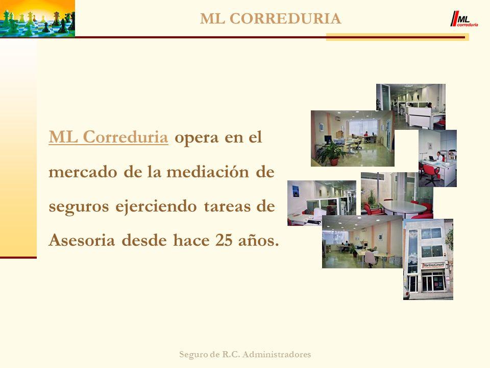 Seguro de R.C. Administradores ML CORREDURIA ML Correduria opera en el mercado de la mediación de seguros ejerciendo tareas de Asesoria desde hace 25