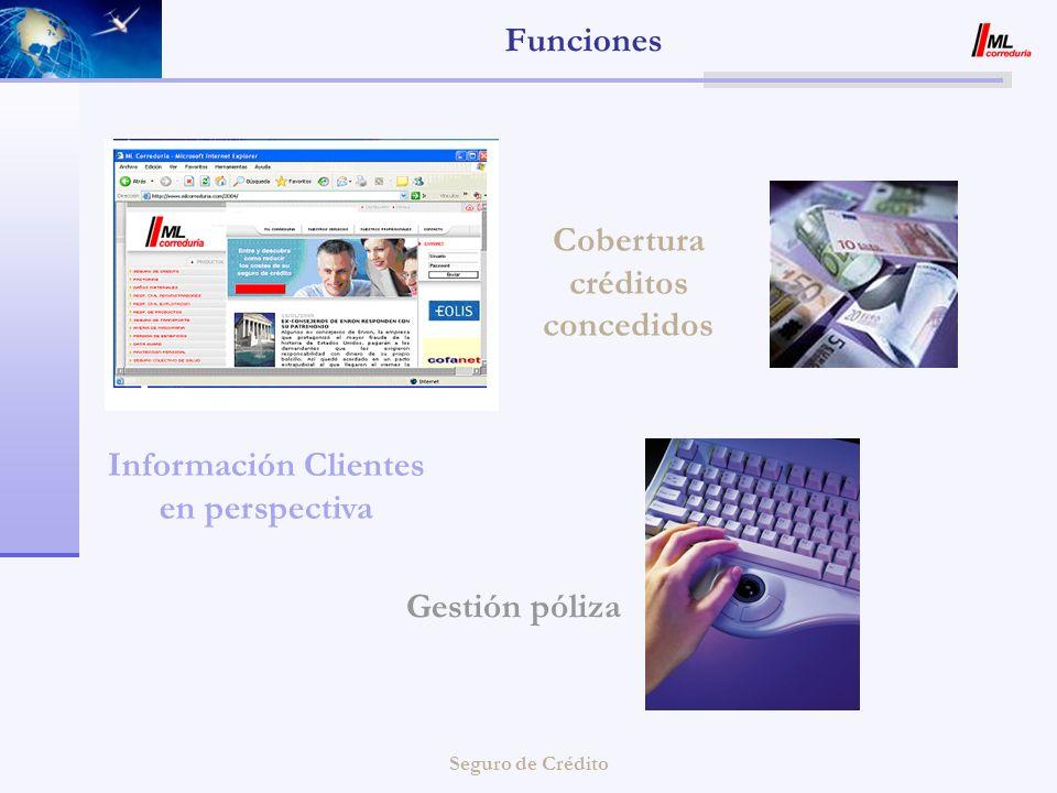 Seguro de Crédito Funciones Información Clientes en perspectiva Gestión póliza Cobertura créditos concedidos