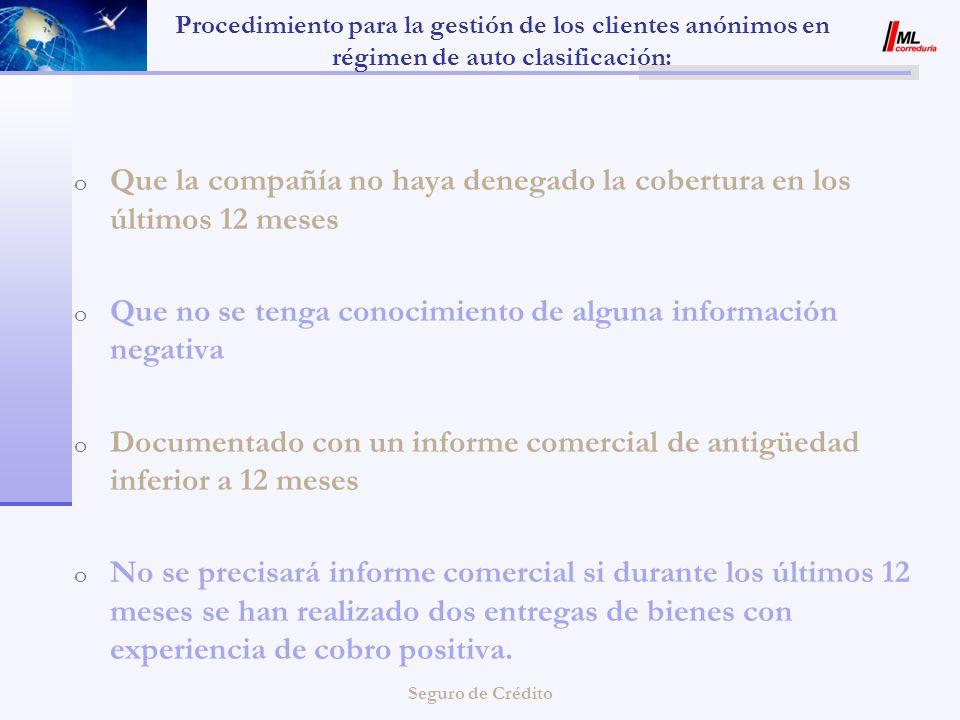 Seguro de Crédito Procedimiento para la gestión de los clientes anónimos en régimen de auto clasificación: o Que la compañía no haya denegado la cober