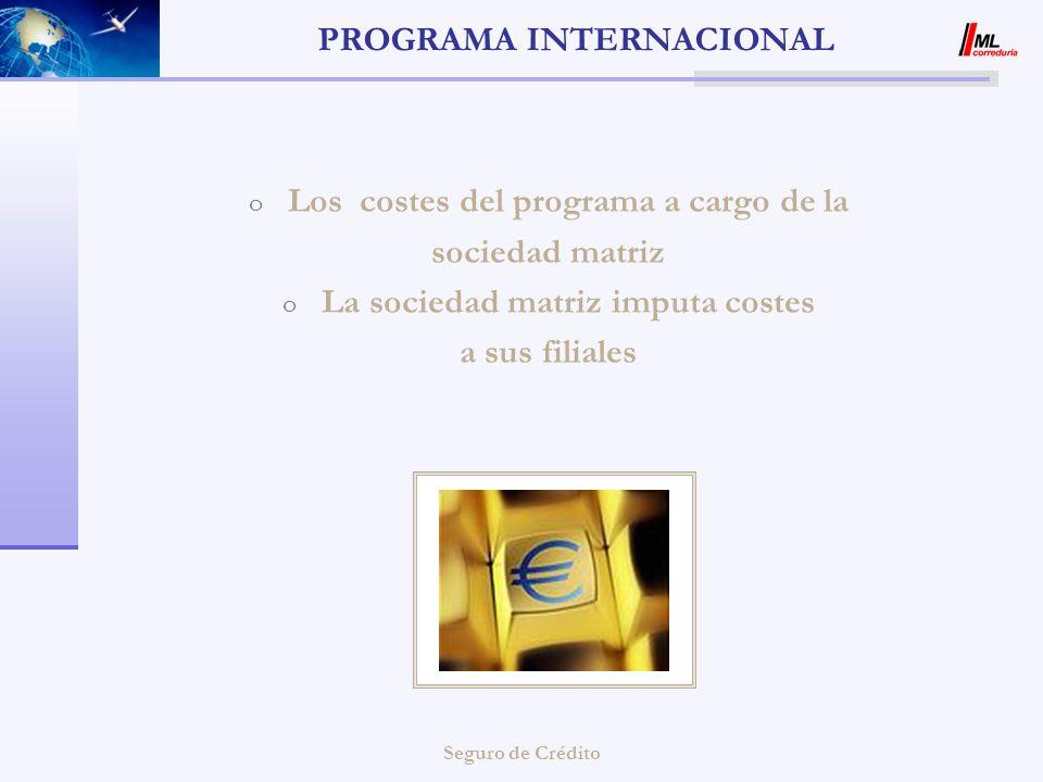 Seguro de Crédito PROGRAMA INTERNACIONAL o Los costes del programa a cargo de la sociedad matriz o La sociedad matriz imputa costes a sus filiales