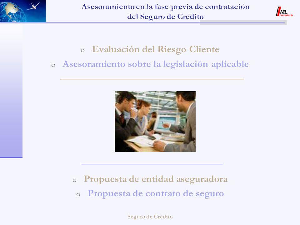 Seguro de Crédito Asesoramiento en la fase previa de contratación del Seguro de Crédito o Evaluación del Riesgo Cliente o Asesoramiento sobre la legis