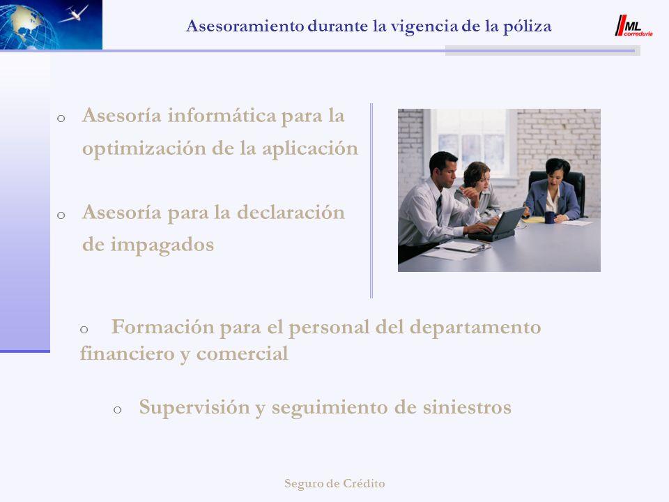 Seguro de Crédito Asesoramiento durante la vigencia de la póliza o Asesoría informática para la optimización de la aplicación o Asesoría para la decla