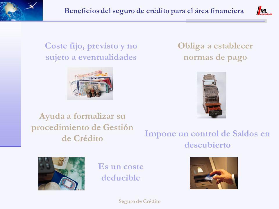 Seguro de Crédito Beneficios del seguro de crédito para el área financiera Coste fijo, previsto y no sujeto a eventualidades Ayuda a formalizar su pro